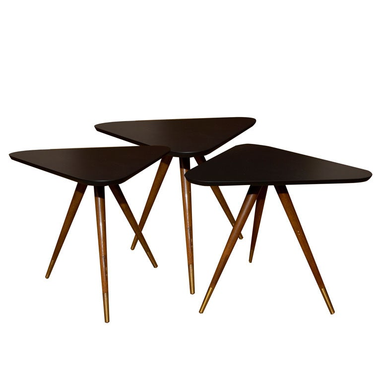 Set of triangle side tables black lacquer tops at stdibs