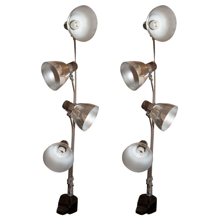pair of 1940s industrial 4 spotlight lamps for sale at. Black Bedroom Furniture Sets. Home Design Ideas