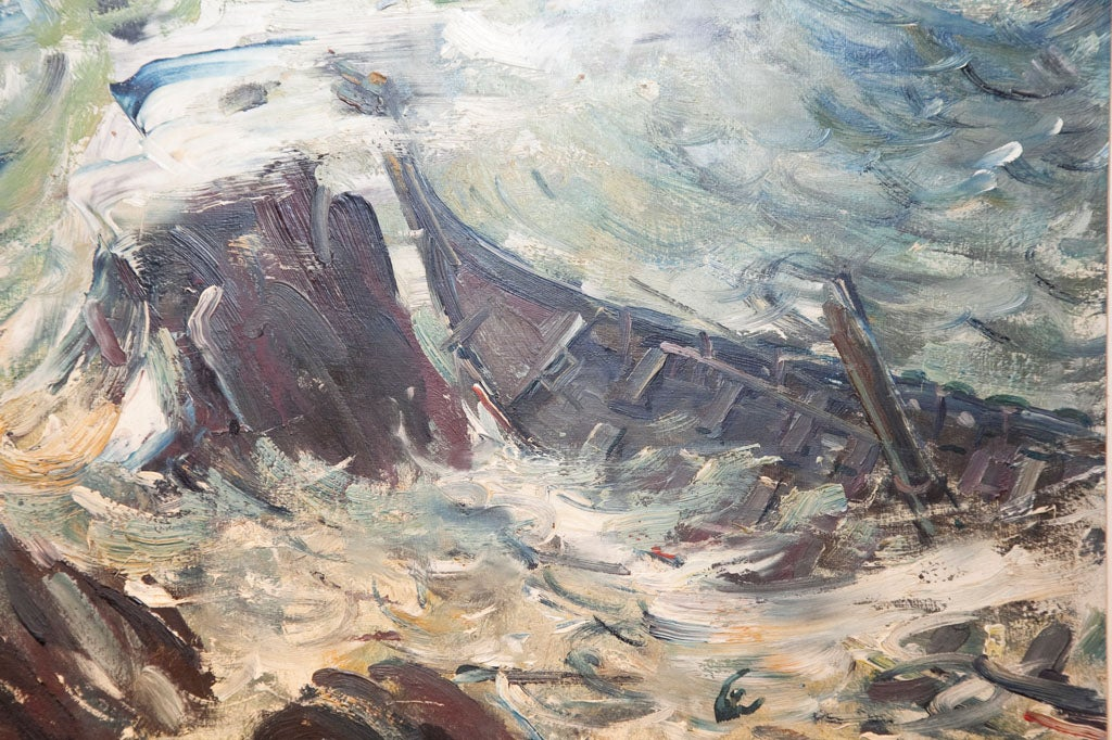 SINKING SHIP OIL PAINTING at 1stdibs