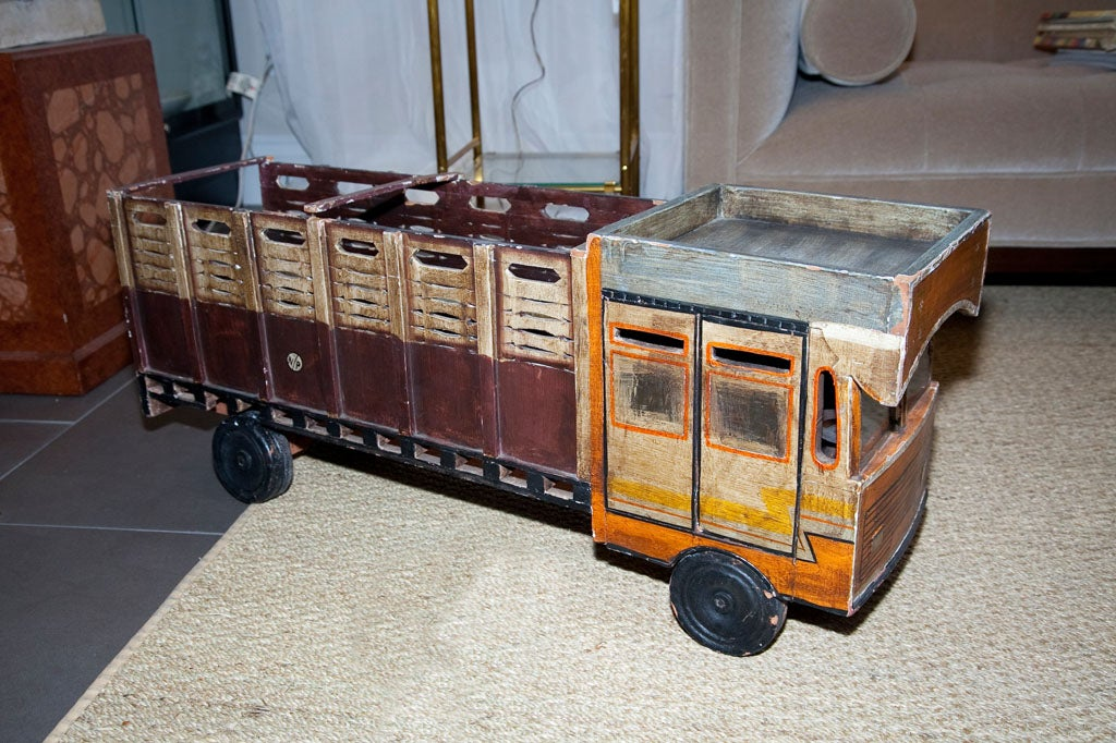 Vintage hand carved toy truck at 1stdibs for Furniture hand truck