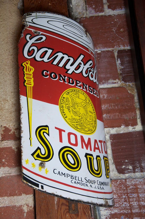 Early Campbell's Tomato Soup Curved Porcelain Advertising Sign 2