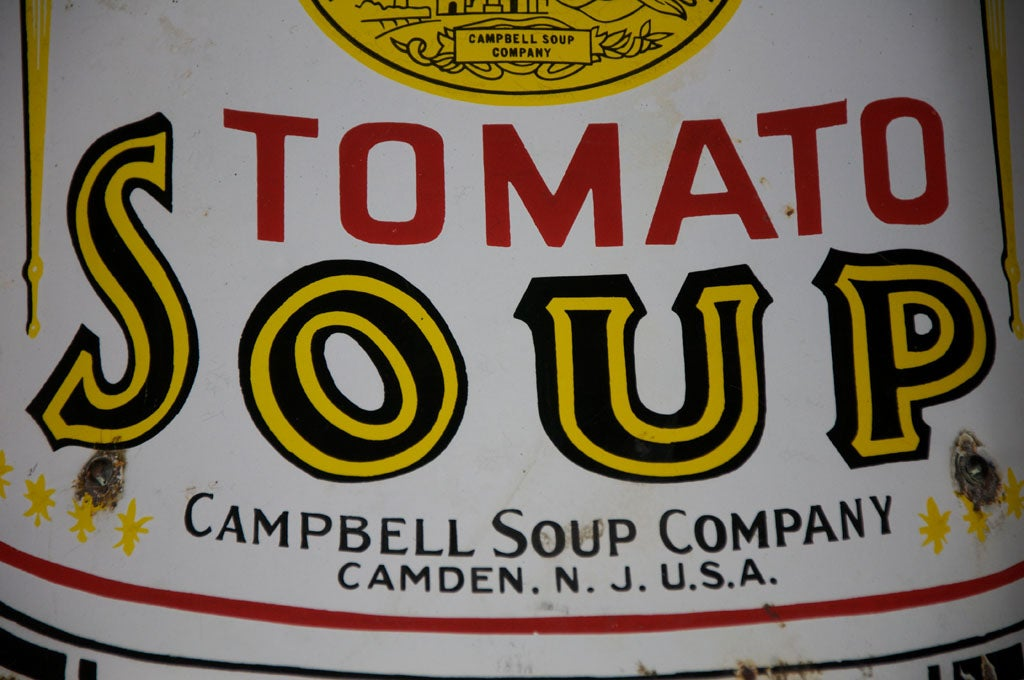 Early Campbell's Tomato Soup Curved Porcelain Advertising Sign 3