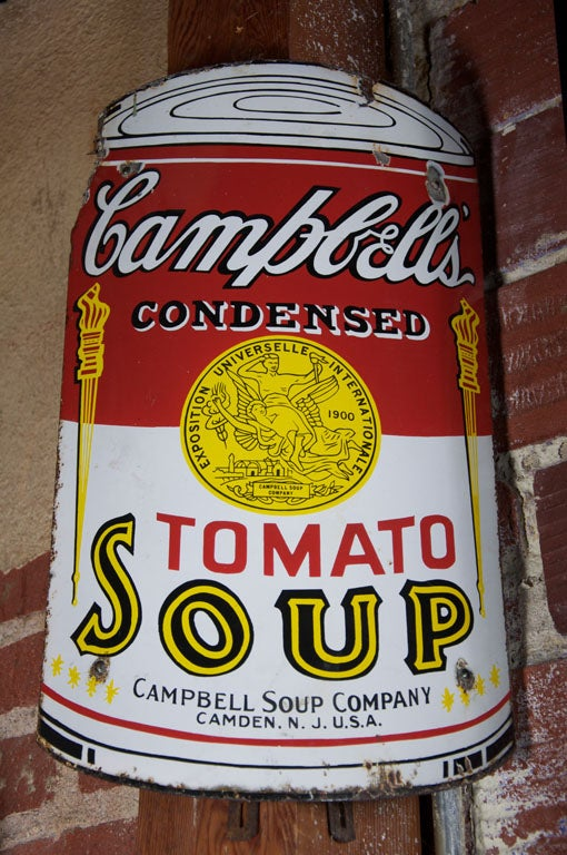 Early Campbell's Tomato Soup Curved Porcelain Advertising Sign 5