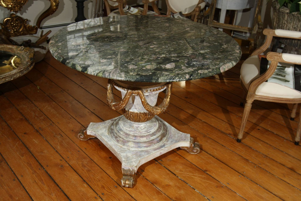 Stunning Carved Center Table With Green Granite Top At 1stdibs