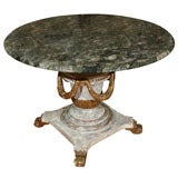 Stunning Carved Center Table with Green Granite Top