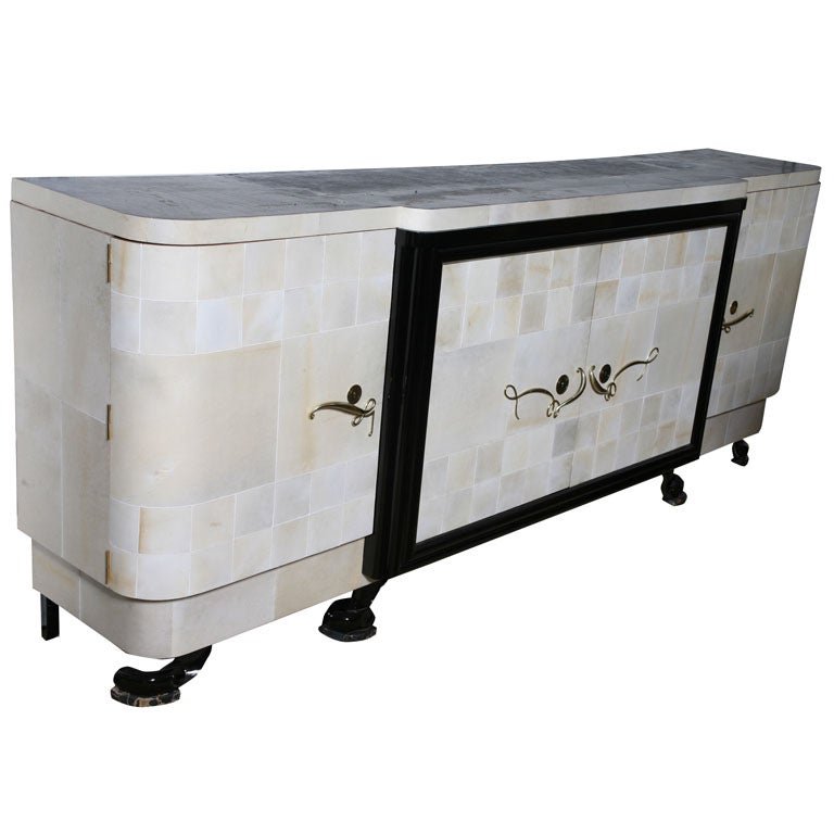 grand scale french art deco full parchment buffet sideboard at 1stdibs. Black Bedroom Furniture Sets. Home Design Ideas