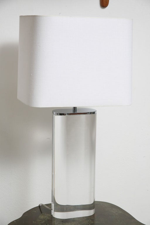 Pair Of Karl Springer Acrylic Table Lamps 2