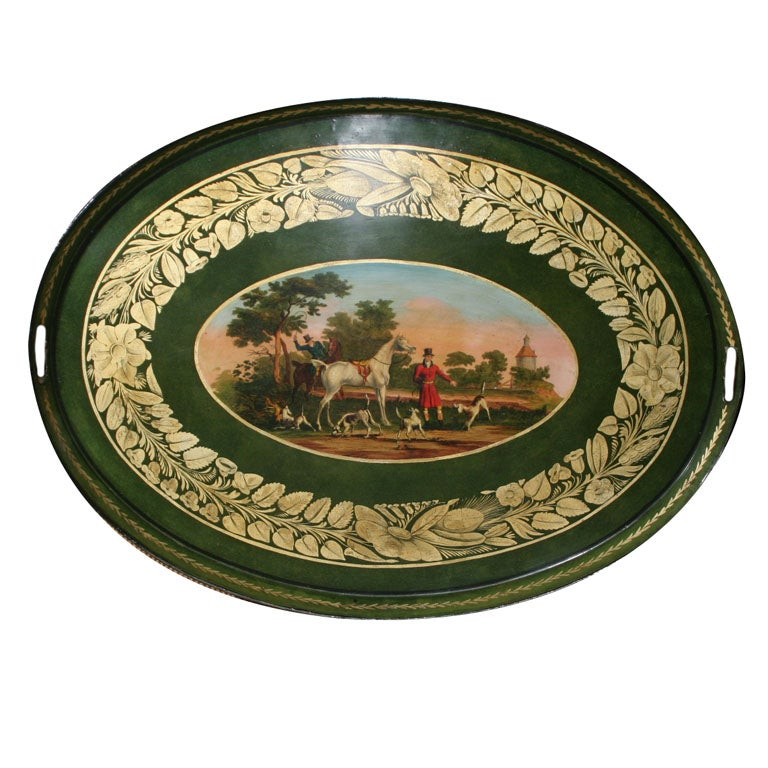 Fine Regency Oval Tole Tray Showing The Devonshire Hunt
