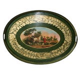 Fine Regency Oval Tole Tray Showing the Devonshire Hunt. English, Circa 1820