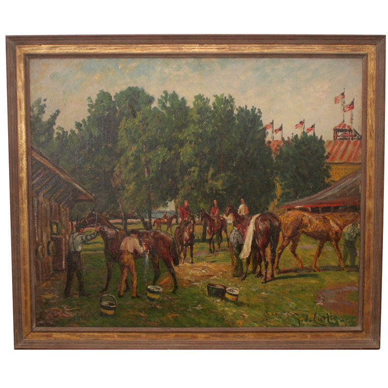 """After the Race-Cooling Down"" Oil on Canvas Painting, circa 1920 For Sale"