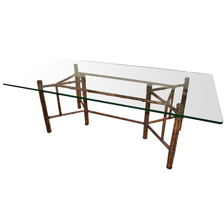 Mcguire Bamboo Dining Table With Solid Glass Top At 1stdibs
