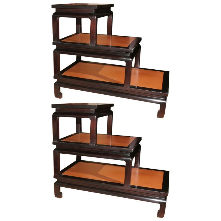 Pair of asian inspired leather step tables at 1stdibs for Asian furniture nyc
