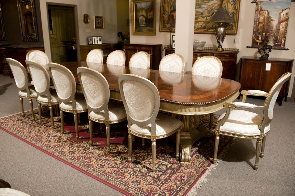 Mahogany dining table and 12 chairs set at 1stdibs for Dining room 12 seater table