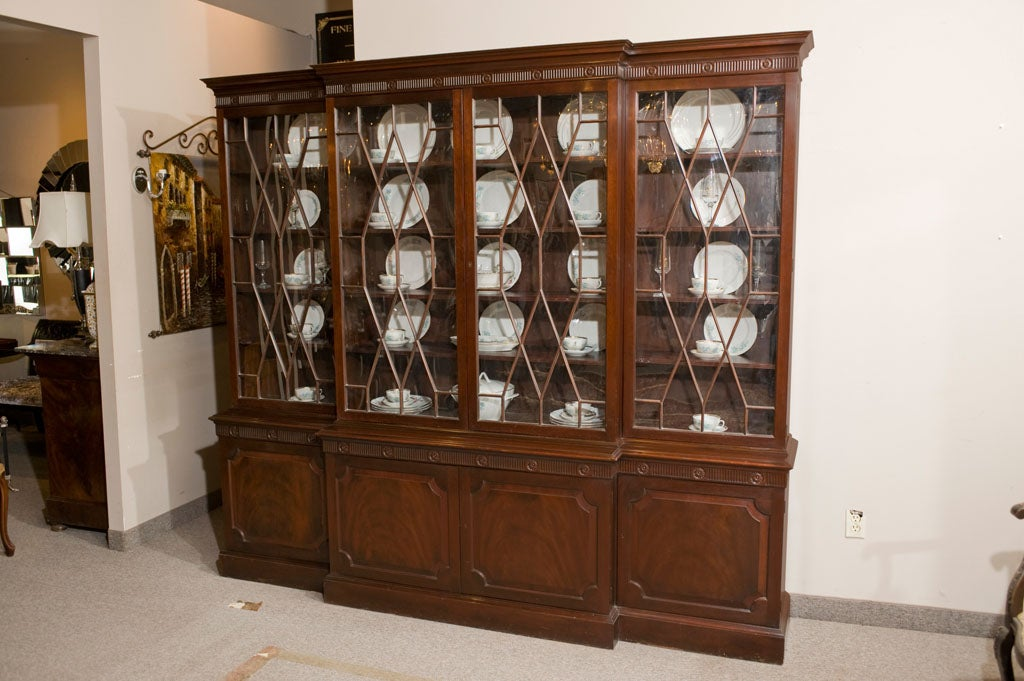 Breakfront Mahogany China Cabinet by Baker 2 - Breakfront Mahogany China Cabinet By Baker At 1stdibs