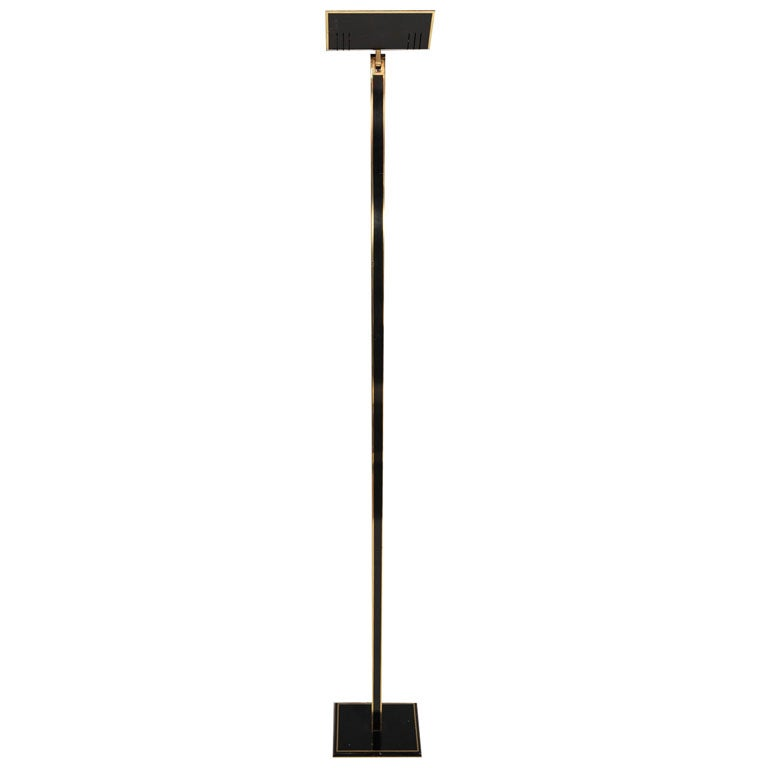 Italian Tall Brass and Black Lacquer Torchiere