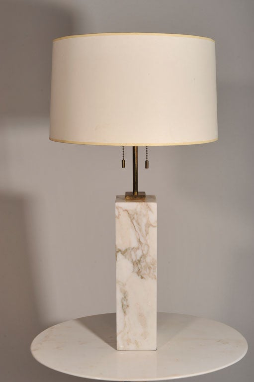 Pair of Square Marble Table Lamps by T.H. Robsjohn-Gibbings For Sale 1
