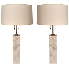 Pair of Square Marble Table Lamps by T.H. Robsjohn-Gibbings