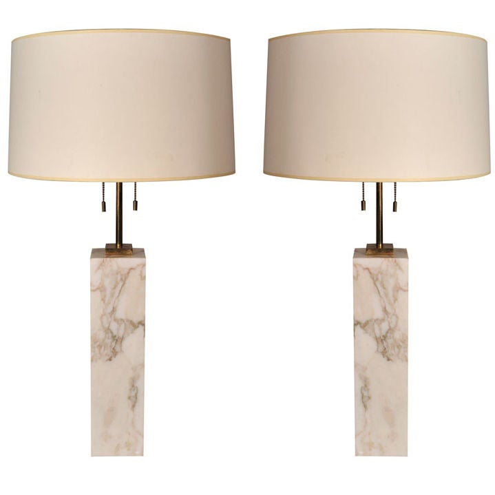 Pair of Square Marble Table Lamps by T.H. Robsjohn-Gibbings For Sale