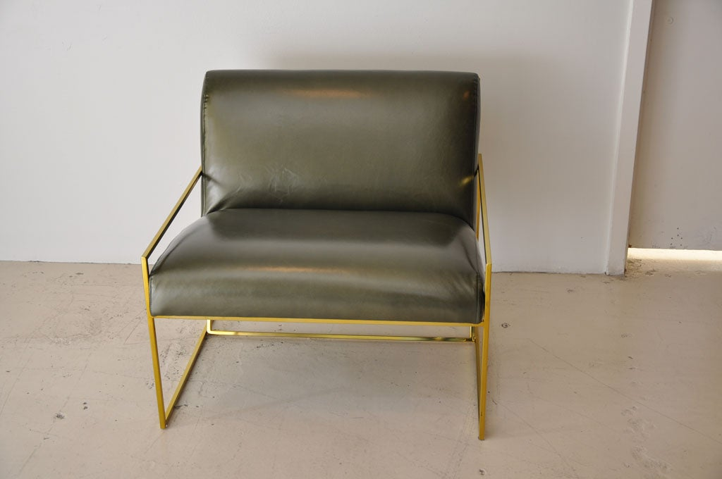 American Pair Of Polished Brass Lawson Fenning  Arm Chairs