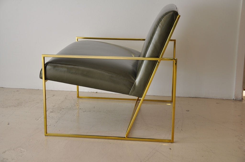 Pair Of Polished Brass Lawson Fenning  Arm Chairs In Excellent Condition In Los Angeles, CA