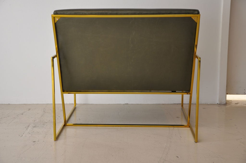 Contemporary Pair Of Polished Brass Lawson Fenning  Arm Chairs