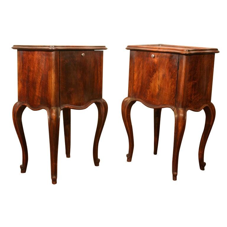 Pair Of Italian Provincial Walnut Side Tables Circa 1880