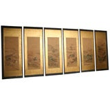 Set of  Six Early 19th century  japanese Paper panels