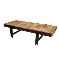 """Roger Capron Tile and Rosewood Low Table, Rare 55""""L Jointed Leg"""