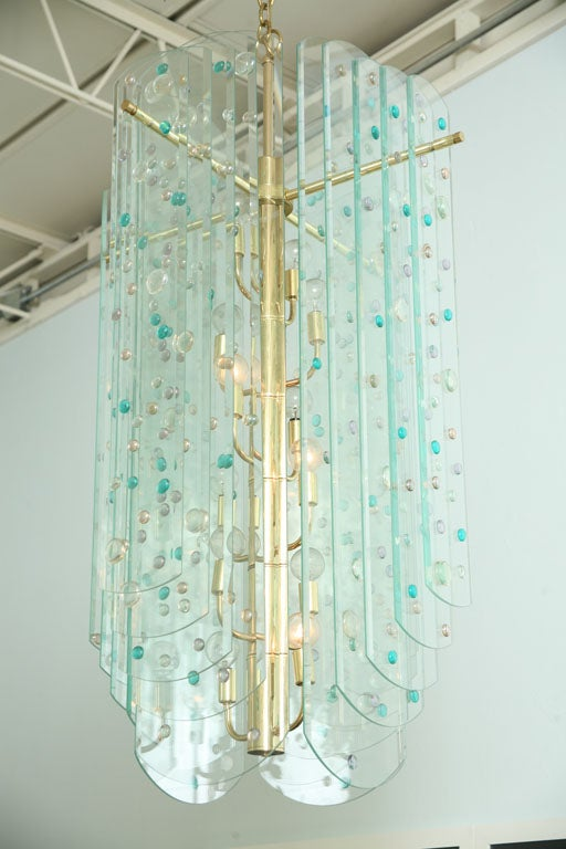 Mid-20th Century Monumental Glass and Brass Chandelier For Sale