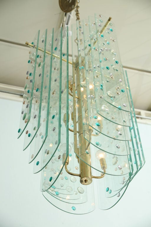 Monumental Glass and Brass Chandelier For Sale 4