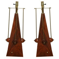 Pair of Fine Brazilian Rosewood Lamps