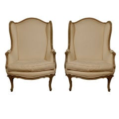 Pair of 19th Century French Louis XV Style Painted Bergeres