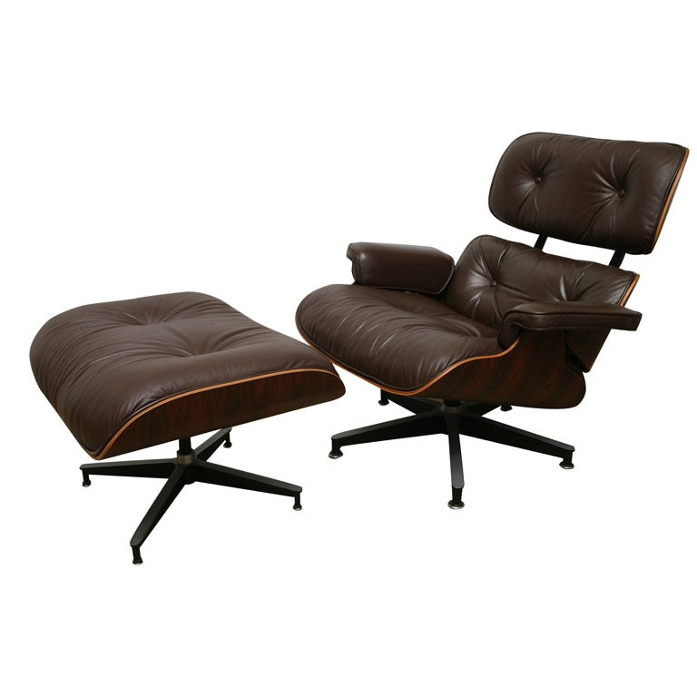VINTAGE EAMES ROSEWOOD LOUNGE CHAIR AND OTTO at 1stdibs