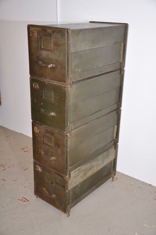American Industrial Style Stackable Metal Filing Cabinets For Sale