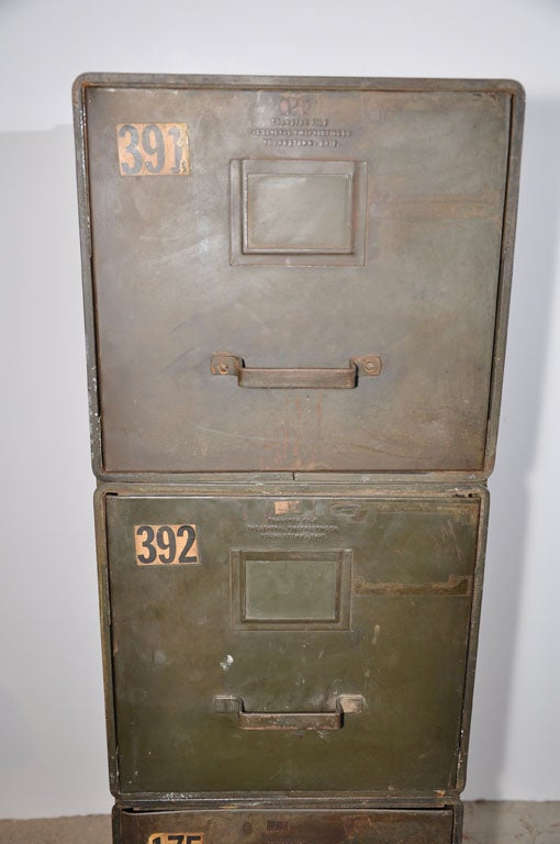 Mid 20th Century Industrial Style Stackable Metal Filing Cabinets For Sale