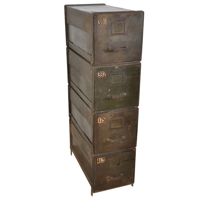 Superieur Industrial Style Stackable Metal Filing Cabinets For Sale