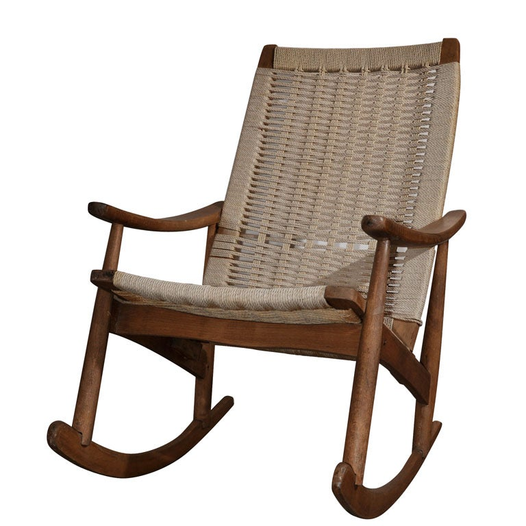 Stately Teak And Rope Rocker At 1stdibs