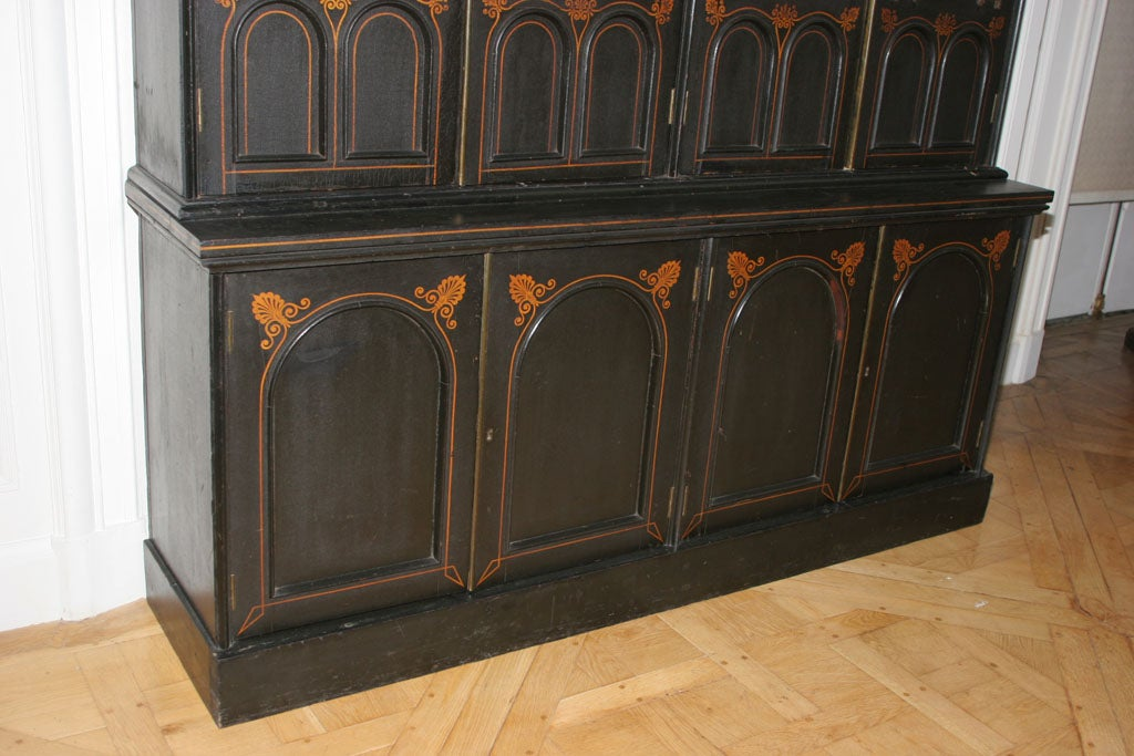 AN UNUSUAL REGENCY EBONIZED FOUR DOOR BOOKCASE image 3