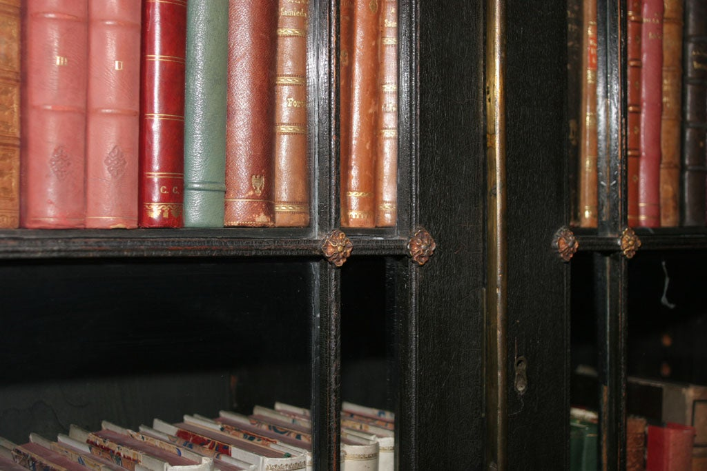 AN UNUSUAL REGENCY EBONIZED FOUR DOOR BOOKCASE image 5