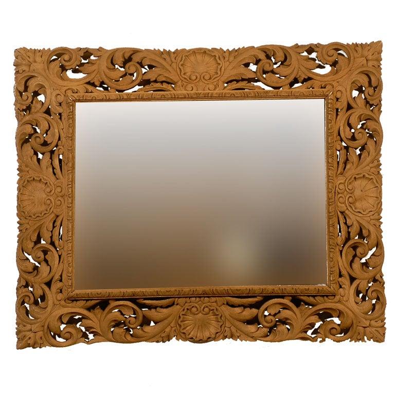 19th C English Oak Carved Mirror
