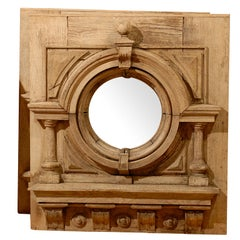 1890s English Pair of Large Oak Mirrors with Carved Architectural Decoration
