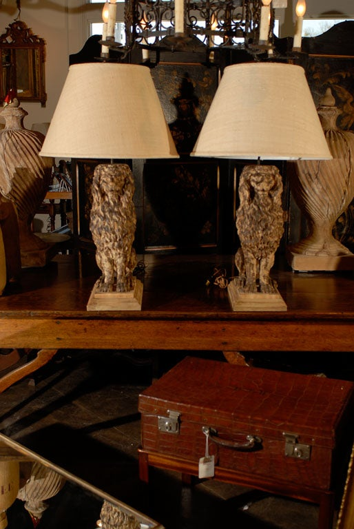 Pair Of Wooden Carved Sitting Lion Table Lamps Circa 1880