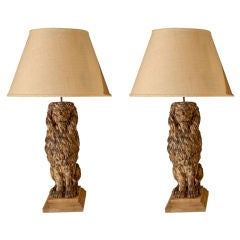 Pair of Wooden Carved Sitting Lion Table Lamps, circa 1880 with Empire Shades