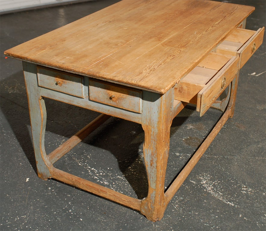 PROVINCIAL TABLE, CONTINENTAL WITH OLD BLUE PAINT image 6