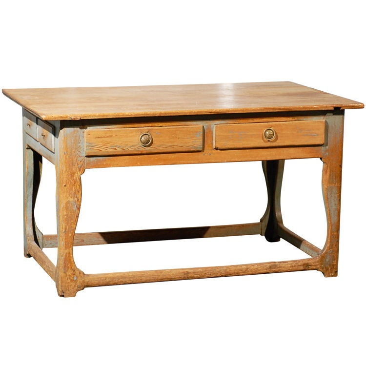 PROVINCIAL TABLE, CONTINENTAL WITH OLD BLUE PAINT