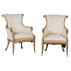 Pair of 19th Century Regency Style Giltwood Arm Chairs