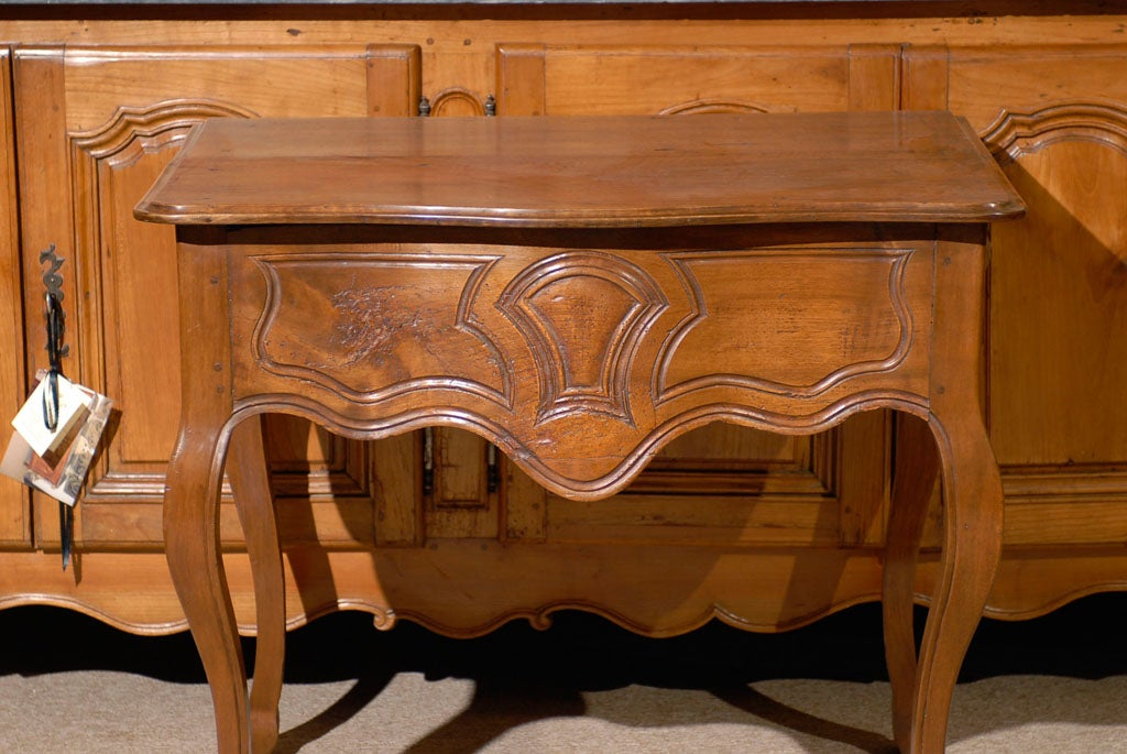 French Louis XV Walnut Console Table with Hoof Feet ca. 1760 For Sale