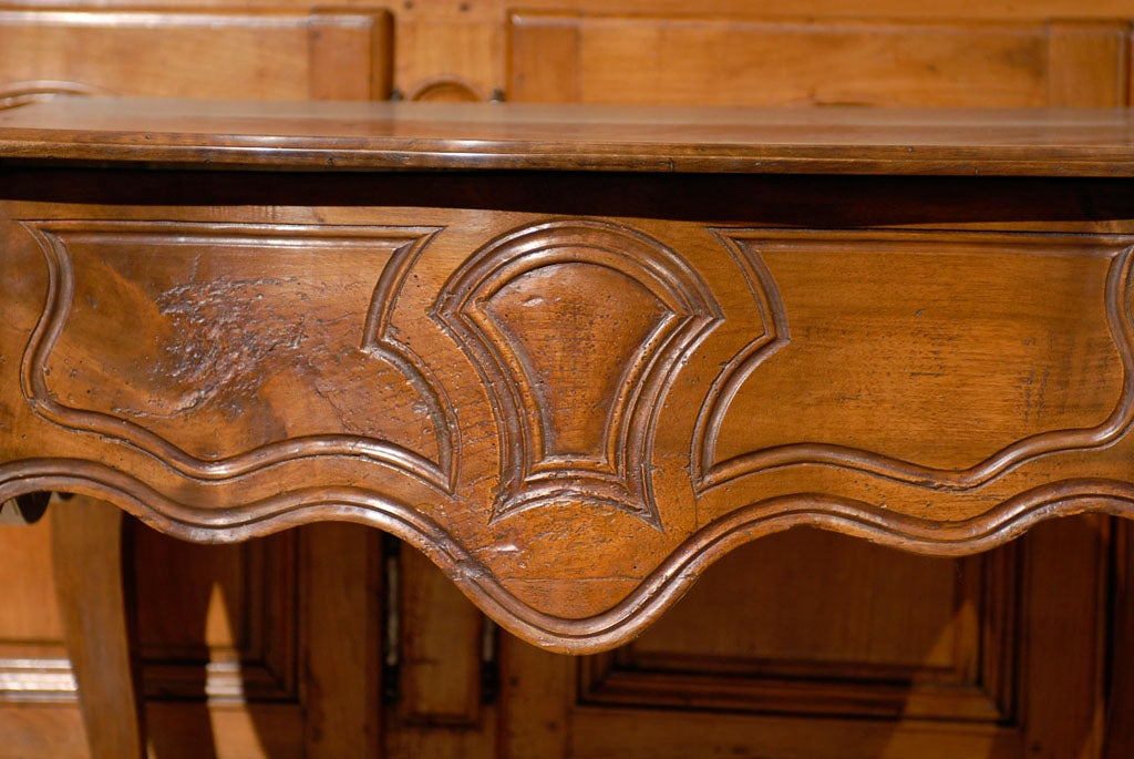 Louis XV Walnut Console Table with Hoof Feet ca. 1760 For Sale 1