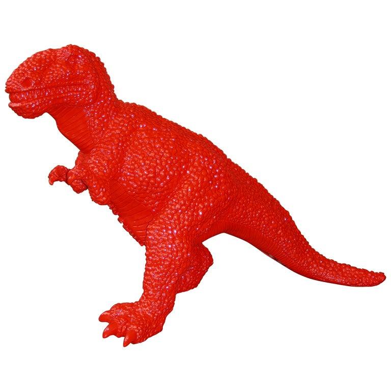 2002 Chinese Red Fiberglass Dinosaur Sculpture By Jiango