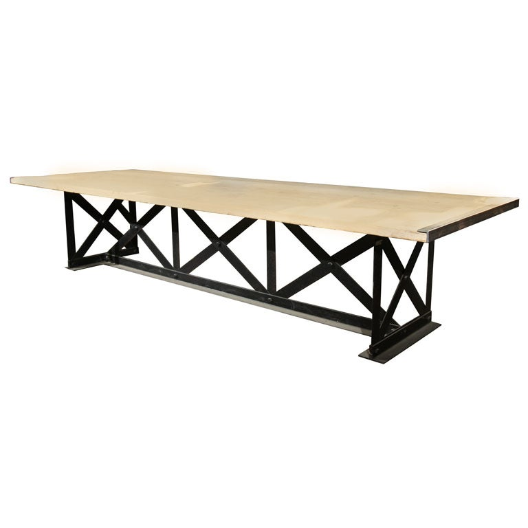 12 ft steel base table at 1stdibs for 12 foot dining room table